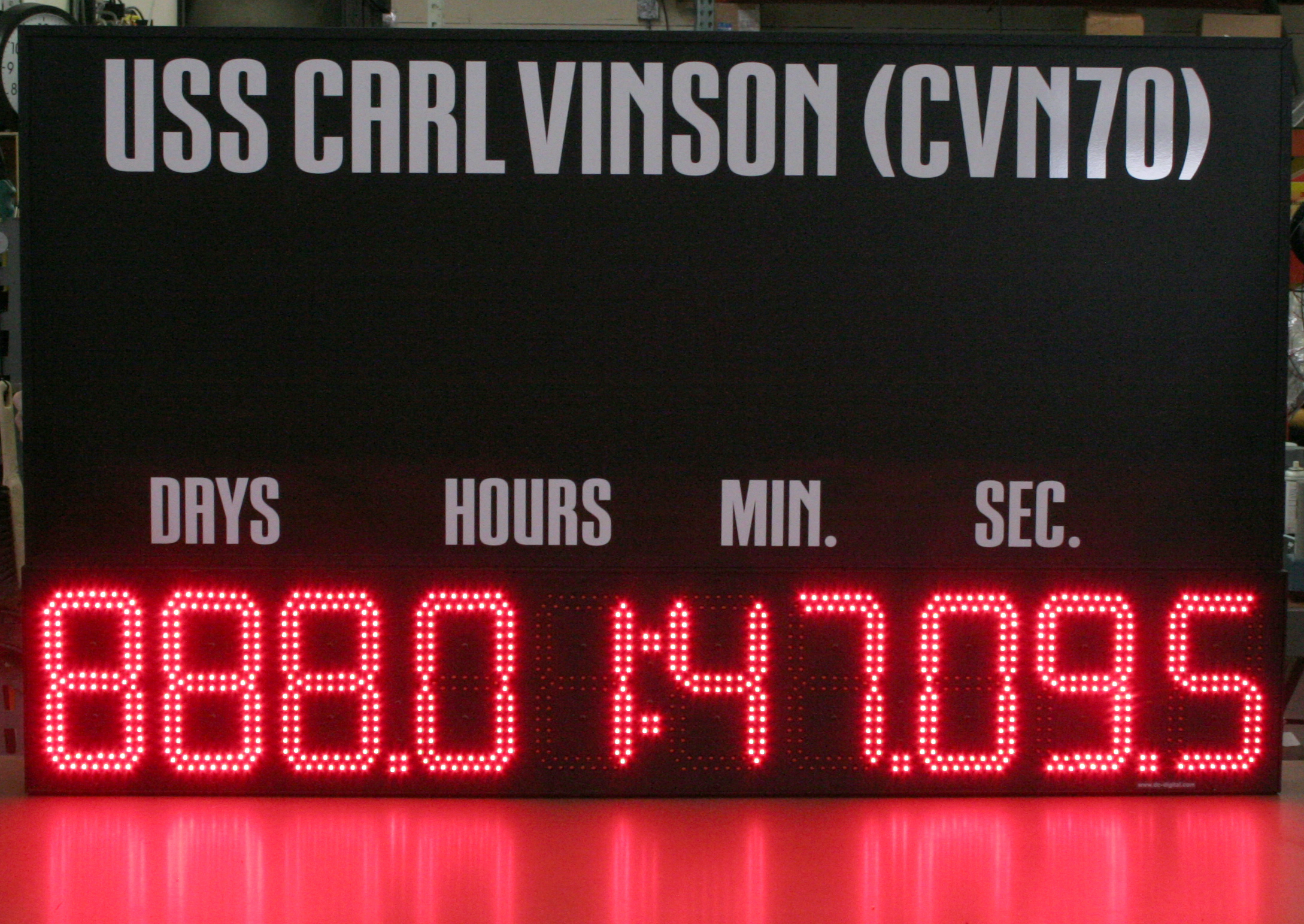 USS Carl Vincent Countdown to Retirement Days Hours Minutes and seconds 8 Inch digits Custom enclosure