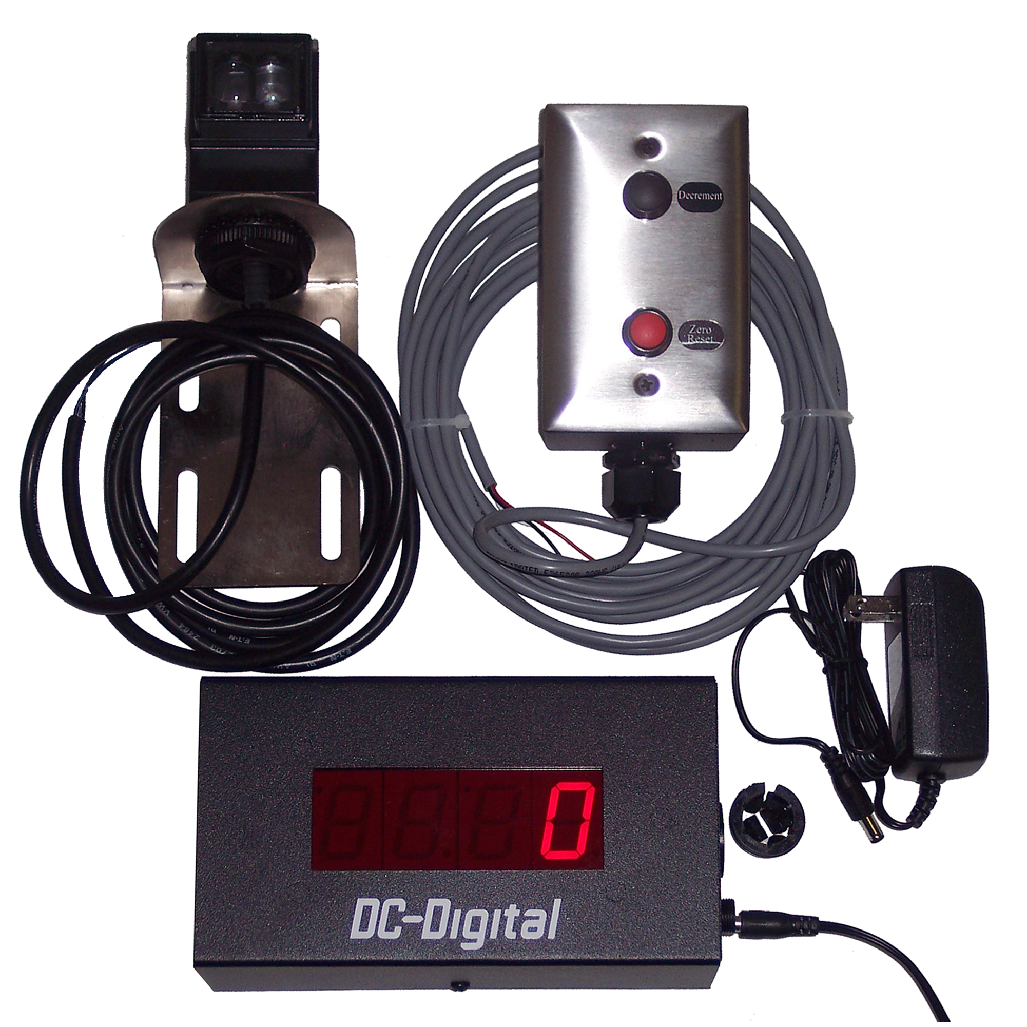 (DC-10C-PKG) 1.0 Inch LED Digital Counter, Diffused Reflective Sensor (10ft. Range) and Mount, and 2-Environmentally Sealed Push-Buttons with Junction Box and 25Ft. of Cabling (SW-RMSS-2-RED-BLK)