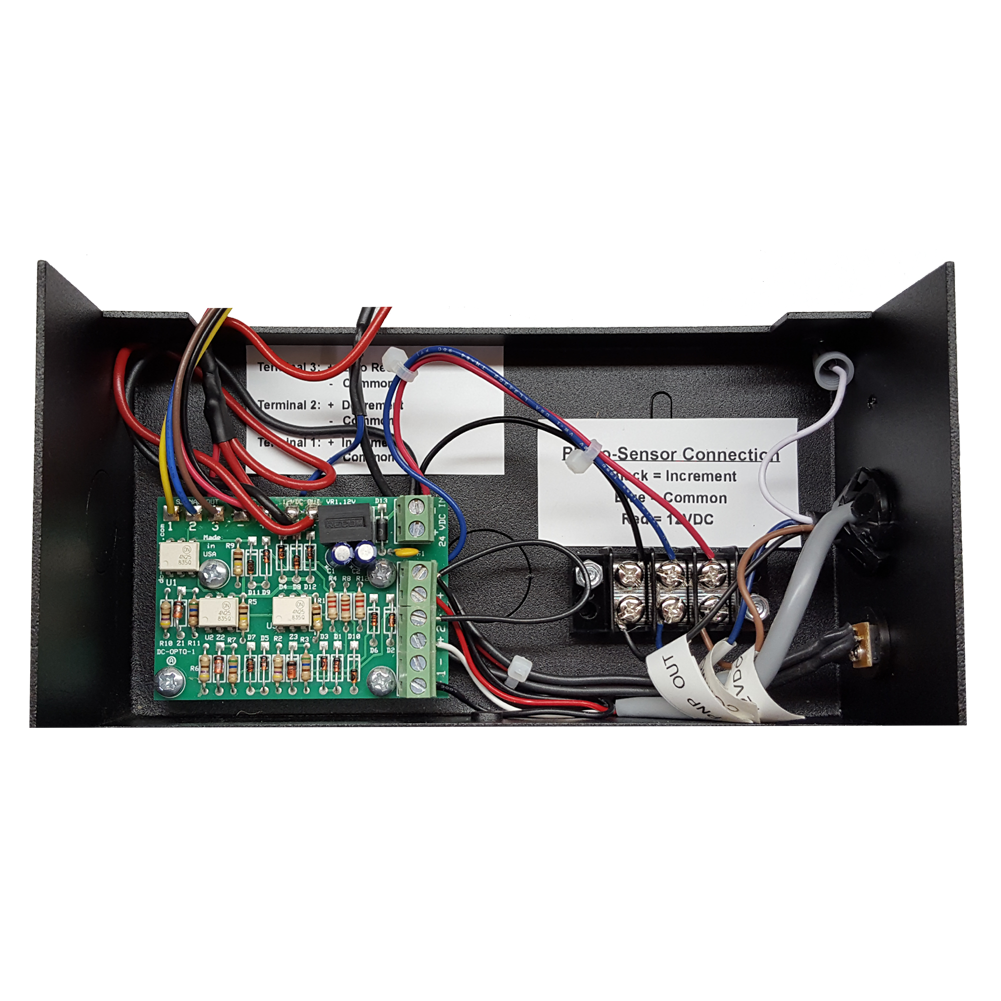 (DC-10C-PKG) 1.0 Inch LED Digital Counter, Diffused Reflective Sensor (10ft. Range) and Mount, and 2-Environmentally Sealed Push-Buttons with Junction Box and 25Ft. of Cabling (SW-RMSS-2-RED-BLK) 1