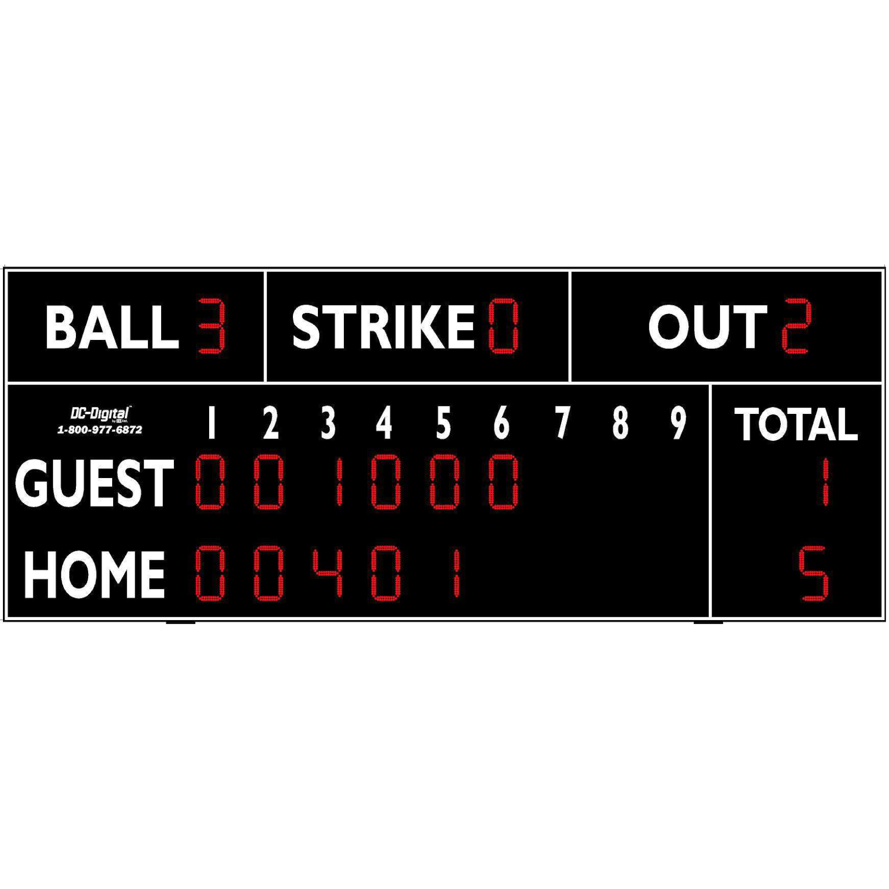 (DC-150-20x8) Baseball-Softball LED Wireless Controlled Scoreboard with RPI (OUTDOOR)