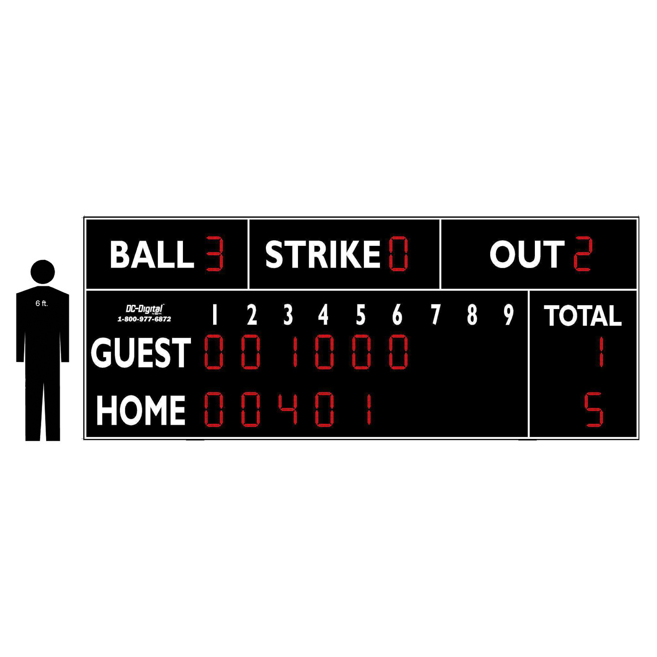 (DC-150-20x8) Baseball-Softball LED Wireless Controlled Scoreboard with RPI (OUTDOOR) 2