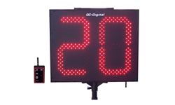 (DC-152T-DN-W-PITCH-INNING) Portable (2) 15.0 Inch LED Digit, Battery Operated, Digital Pitch or Inning Countdown Timer with RF-Wireless Handheld Remote Controller, Carrying handle, Tripod with Mount and Battery Charger (OUTDOOR)