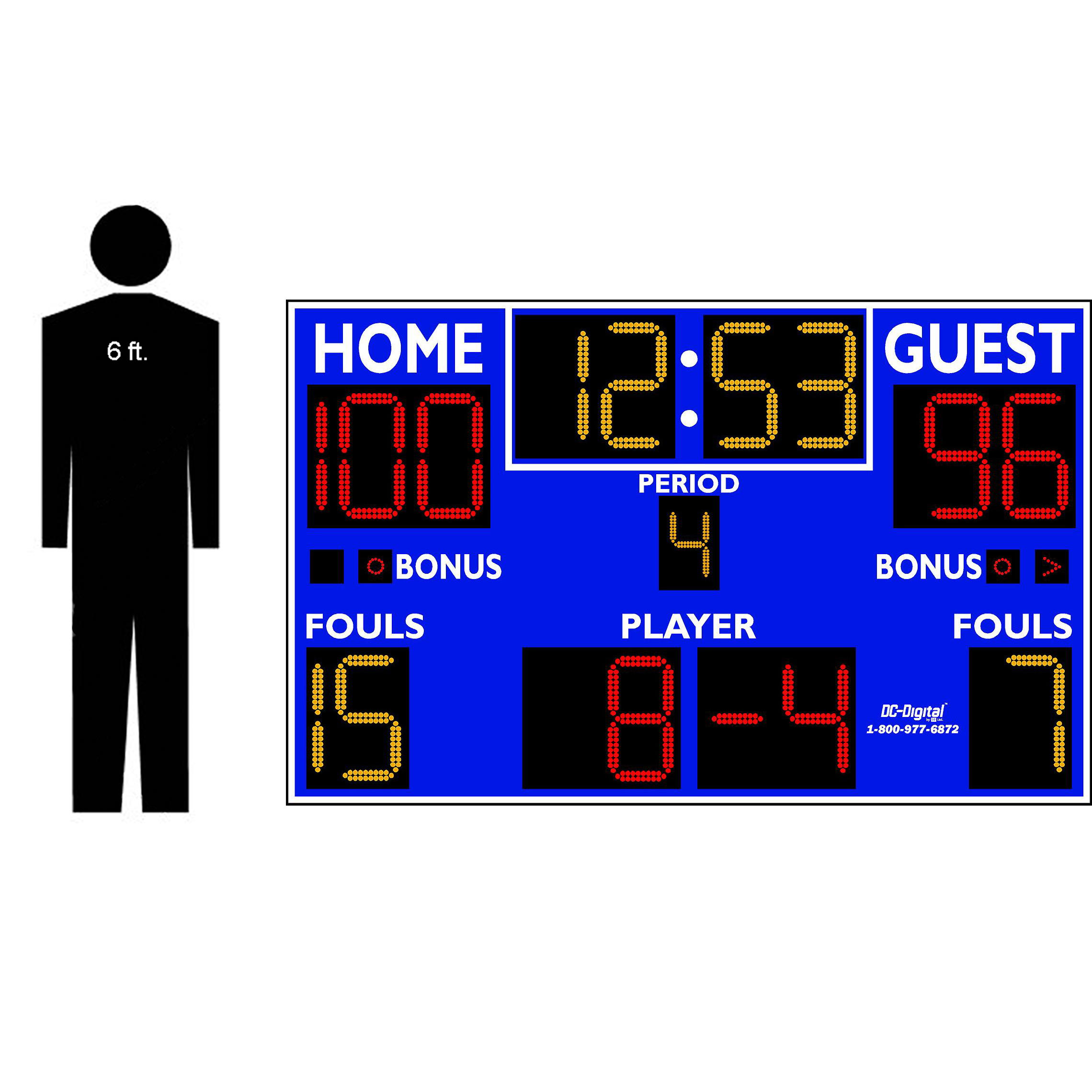 (DC-159-8x5-Fouls) Basketball-Volleyball-Wrestling LED Wireless Controlled Scoreboard with Fouls Panel (INDOOR) 2