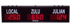 (DC-25TZ-2-Julian) 2- Zone + Julian Days, Customer Specific Vinyl Lettering, 2.3 inch Digit, World Time Zone Clocks
