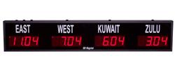 (DC-25TZ-4) 4- Zone, Customer Specific Vinyl Lettering, 2.3 inch Digit, World Time Zone Clocks
