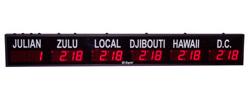 (DC-25TZ-5-Julian) 5- Zone + Julian Days, Customer Specific Vinyl Lettering, 2.3 inch Digit, World Time Zone Clocks