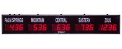 (DC-25TZ-5) 5- Zone, Customer Specific Vinyl Lettering, 2.3 inch Digit, World Time Zone Clocks