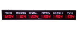 (DC-25TZ-6) 6- Zone, Customer Specific Vinyl Lettering, 2.3 inch Digit, World Time Zone Clocks