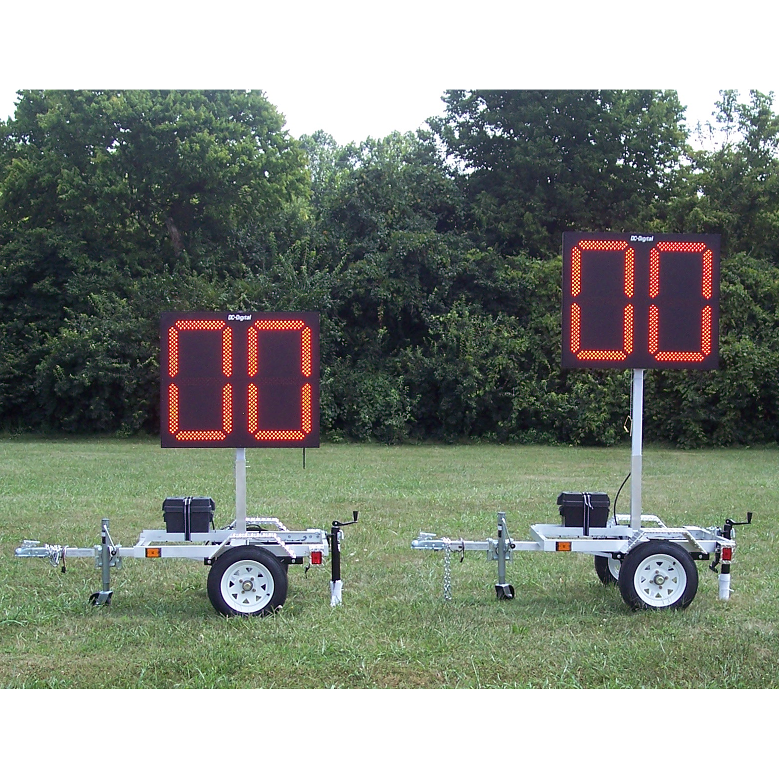 (DC-300PSB) 30 Inch LED Digital, Portable Pitch or Inning Baseball-Softball Delay of Game Timers with Carts, Battery Operated, RF-Wireless Controlled (Complete Set)
