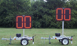 (DC-300PB) Baseball-Softball Clock-Timers with Carts, Battery Operated, RF-Wireless Controlled, 30 Inch Digits (Complete Set)