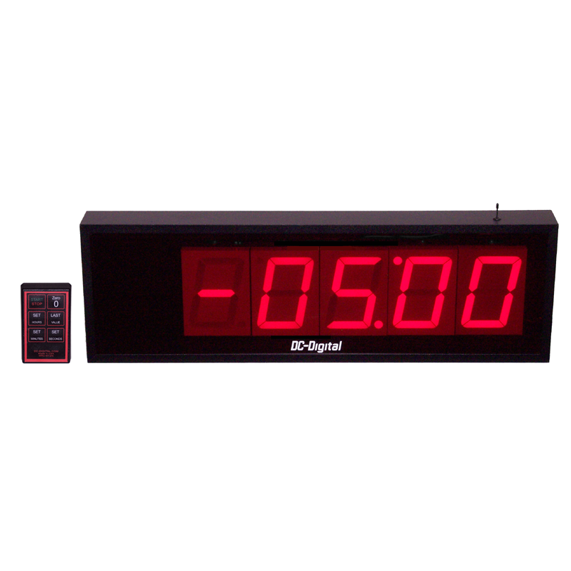 (DC-405T-DN-Neg-W) 4 Inch LED, RF-Wireless Controlled, Digital Countdown Timer, with Negative Count Back Up