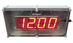 (DC-40N-POE-NEMA) 4.0 Inch LED, Network NTP Server Synchronized, Web Page Configurable, POE Powered, Atomic Digital Time of Day Clock in a NEMA 4X Enclosure