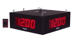 (DC-40S-W-Quad) (4) 4.0 Inch LED, RF-Wireless Handheld Controlled, Quad 4-Sided, Time of Day Digital Clocks, All-in-One Enclosure (1 Master - 3 Secondary's)