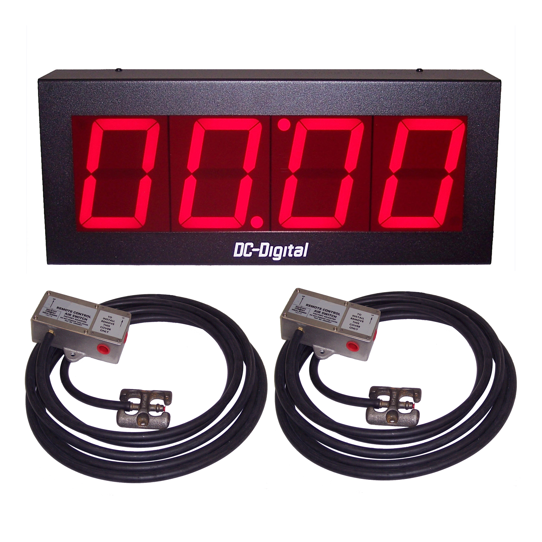 (DC-40T-UP-VEH) 4.0 Inch LED Digital, Pneumatic Switch Controlled, Count Up Timer-Clock (for pull through garages and drives)