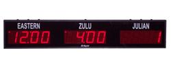 (DC-40TZ-2-Julian) 2- Zone + Julian Days, Customer Specific Vinyl Lettering, 4 inch Digits World Time Zone Clocks