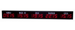 (DC-40TZ-5) 5- Zone, Customer Specific Vinyl Lettering, 4 inch Digit, World Time Zone Clocks