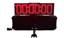 (DC-806UT-BTC) Portable (6) 8.0 Inch LED Digits, Multi-Function, Multipurpose Sport (Counts Up, Counts Down and Time of Day Clock), Battery Operated, Digital Timer-Clock, Environmentally Sealed Push-Button Controlled , Carrying handle, Carrying Case, Tripod with Mount and Battery Charger (INDOOR/OUTDOOR)