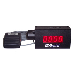 Foot switch activated industrial MM:SS countdown timer with Set n Forget BCD Rotary set switches