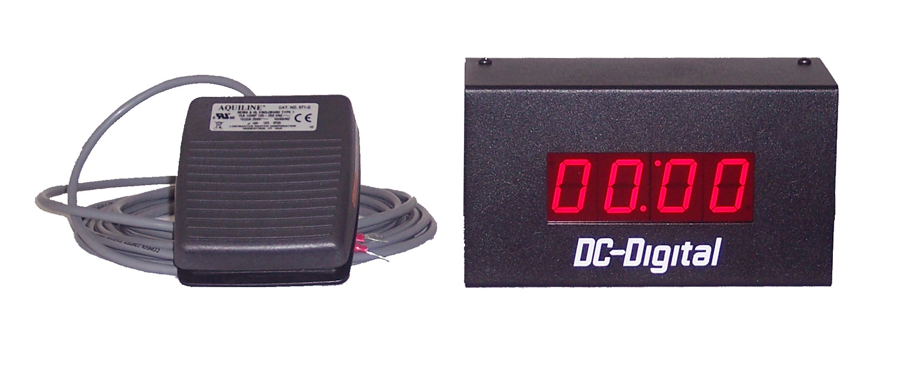 DC-10T-UP-Foot Footswitch Activated Count Up timer 1 Inch Digits t use as a handwashing timer