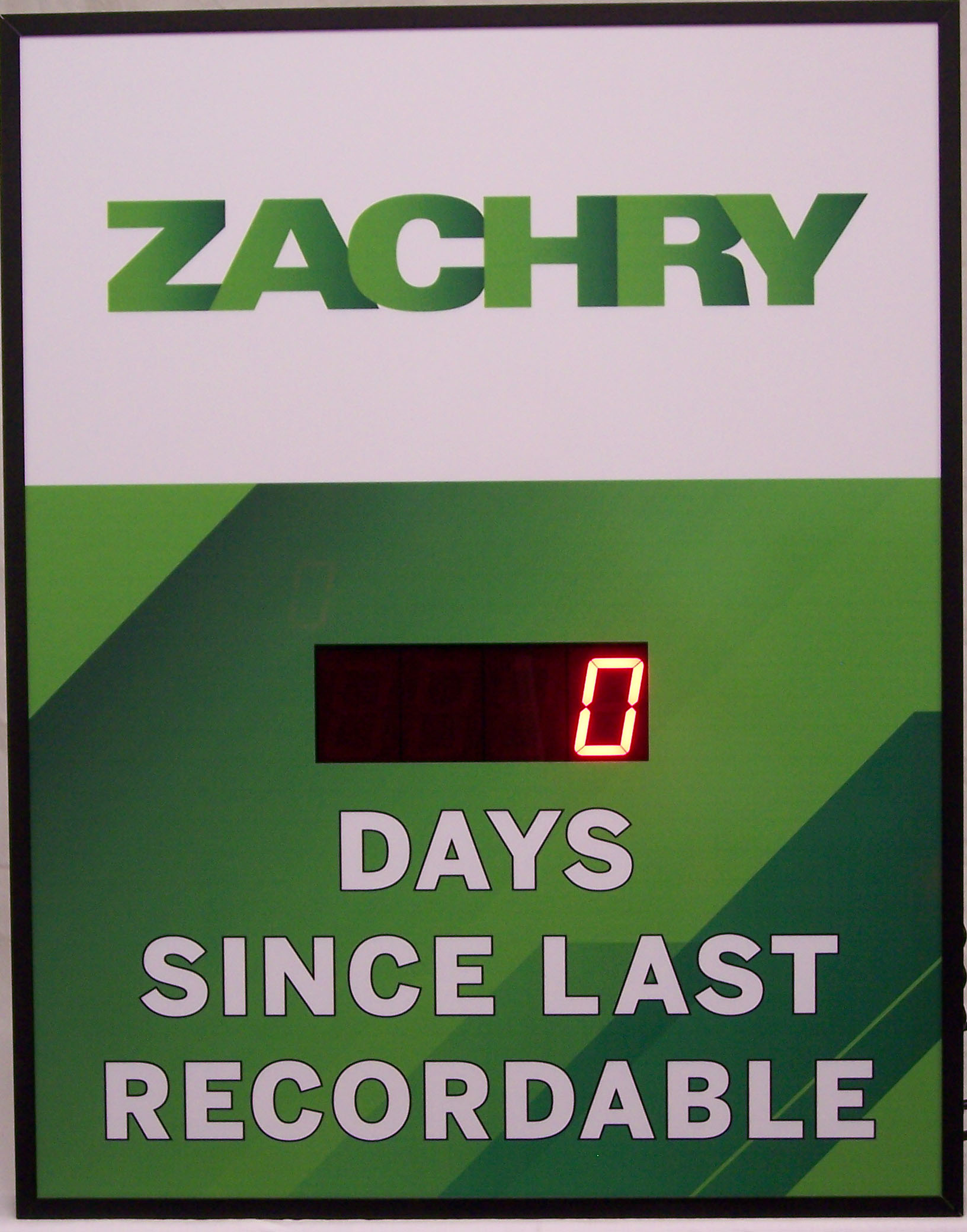 DC-25 Days Since last Recordable Safety Scoreboard