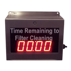 Filter Change Countdown Timer - Boeing Industries 2.3 Inch Hours and Minutes, BCD Set, Relay Closure, Stainless Steel Enclosure