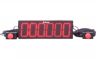 6 inch 6 digit count up timer with thousands of a second and dual remote start stop controls