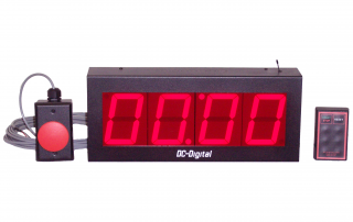 4 inch digital LED Count up timer with wireless controls and remote wired controls