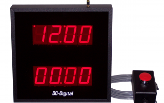 Dual display in one enclosure time of day system clock and count up timer