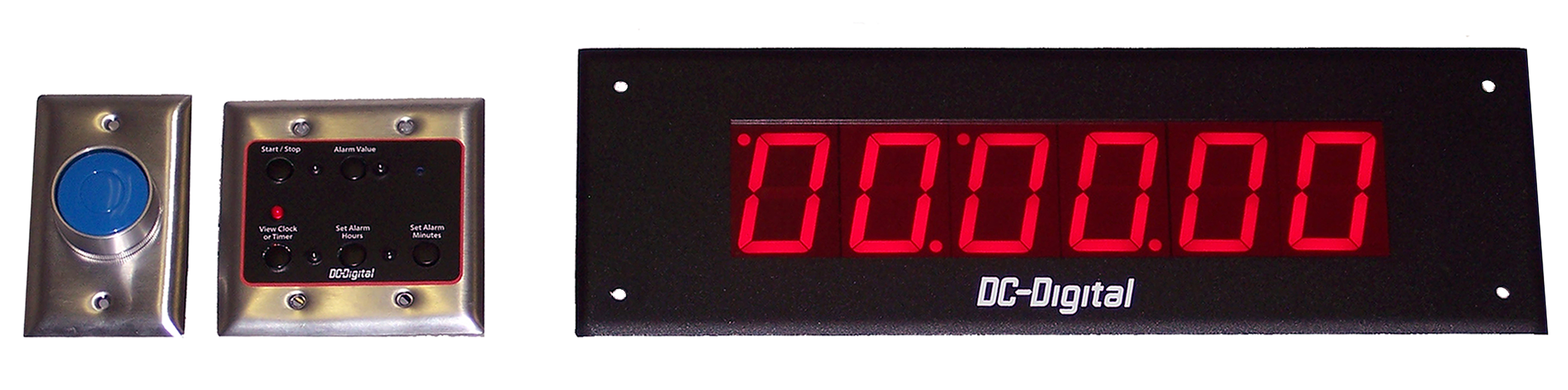 Hospital code blue timer with remote timer set switch panel and synchronized to 2-wire clock system