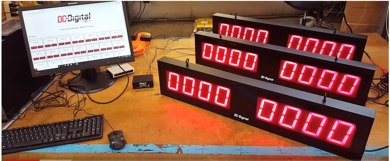 Browser web page tire code identification system using 2 DC-40 digital static number displays
