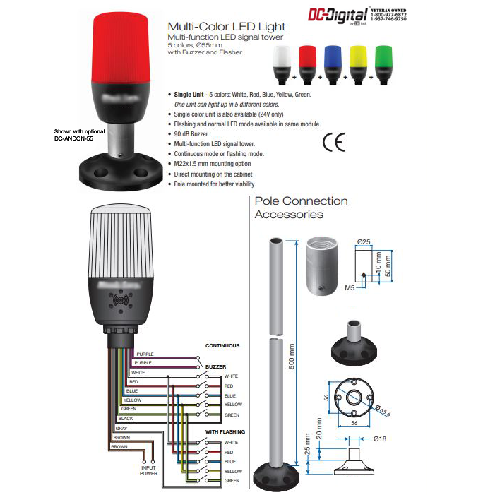 Multi-LED ANDON Stack Light 24VDC/AC with built in buzzer