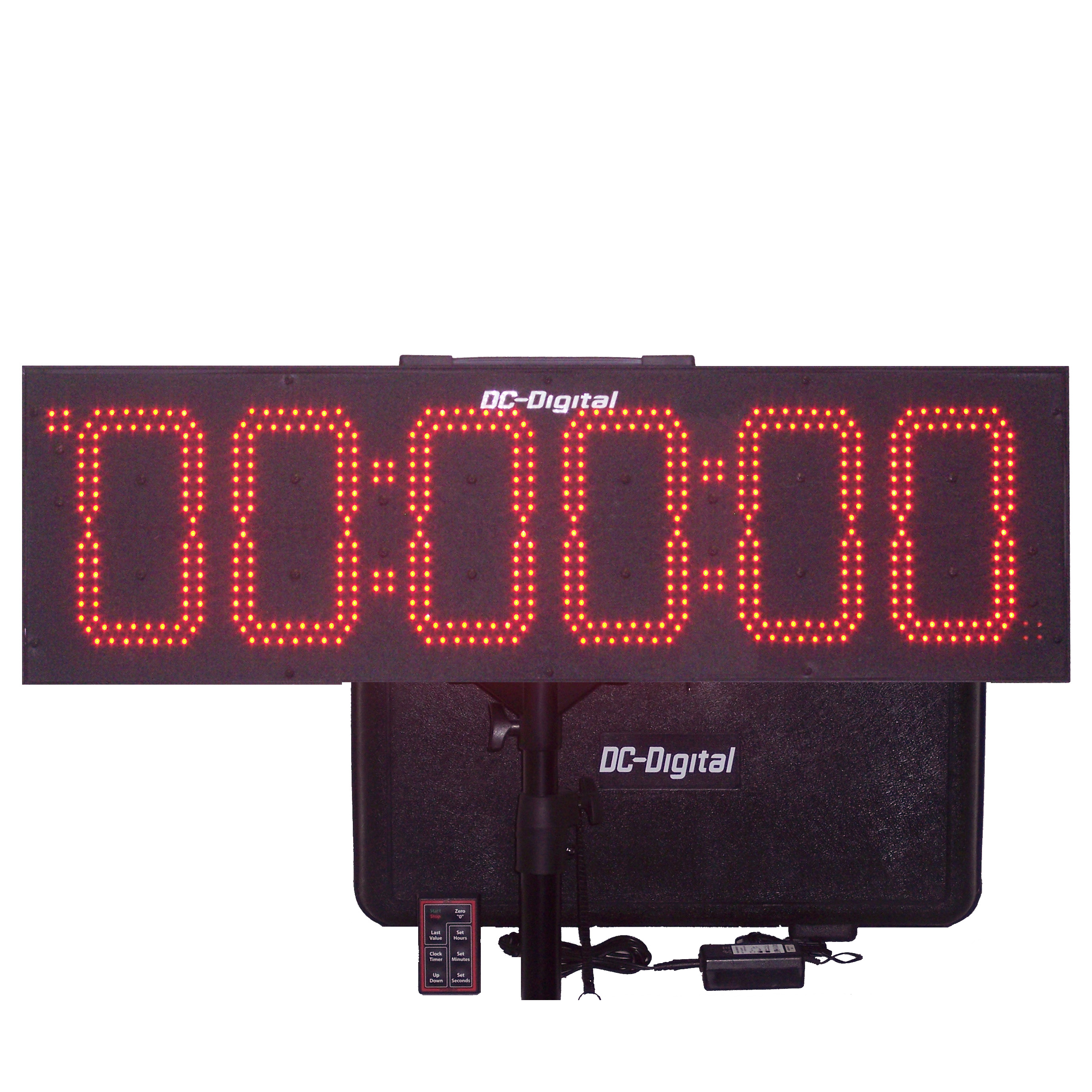 Portable Battery operated, Wireless controlled Multi-Function Count Up Clock-Timer, Countdown Clock-Timer, Time of Day clock, track timer-clock with tripod and carrying case.