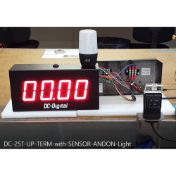 Production line timer with andon light and sensor for remote start and pause. accumulates the time. local master reset