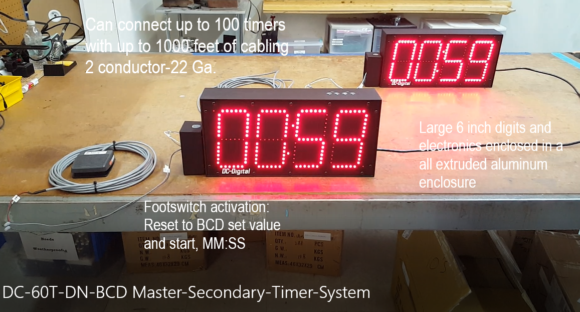 Large 6 inch synchronized digital LED countdown timer system with footswitch activation