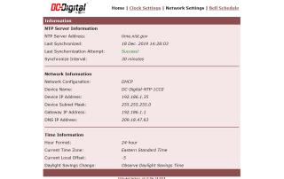 Web page clock settings for DC-Digital clocks